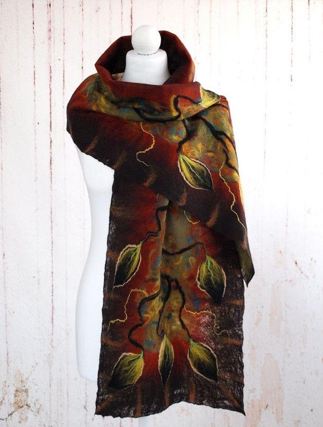 Szal jedwabny, kolory jesieni 04 - Art-Mode - Szale z filcu