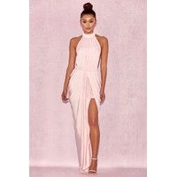 'Vittoria' Baby Pink Draped Silky Jersey Maxi Dress