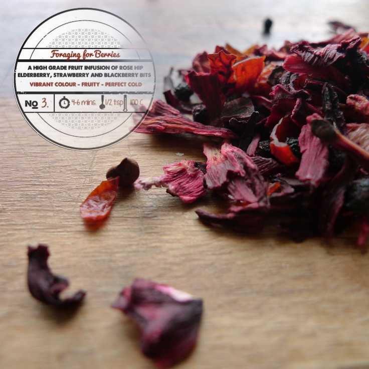 Foraging for Berries by T totaler:   A High Grade Fruit Infusion of Rose Hip, Elderberry, Strawberry and Blackberry Bits.