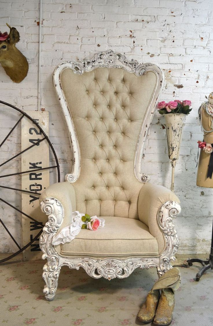 Painted Cottage Chic Shabby French Tufted Upholstered Chair [CHR97] - $995.00 : The Painted Cottage, Vintage Painted Furniture