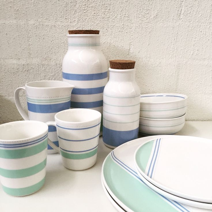 We're very excited about next week's arrivals! #aegean #ceramics #jug #cup #mug #plate #bowl #homewares #stripe #blue #green #nordic