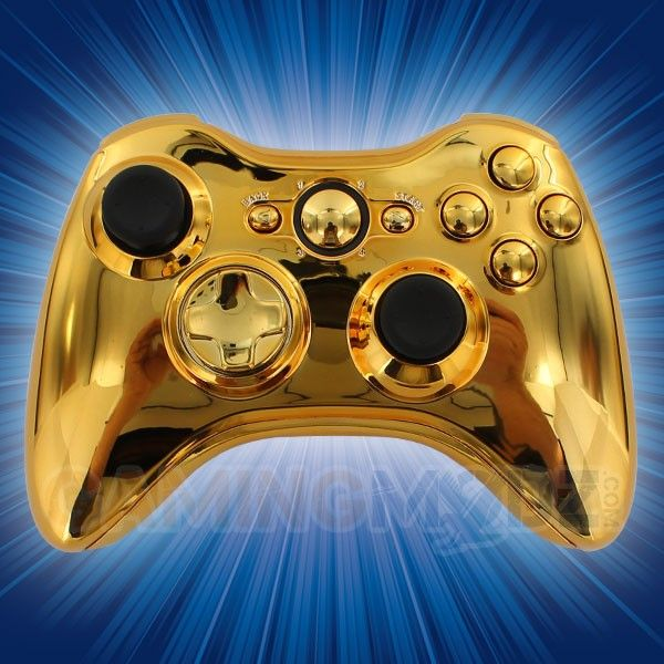 Gold Xbox 360 Modded Controller GamingModz.com is happy to introduce our Gold Xbox 360 modded controller. It features a reflective surface with premium gold finish. Watch the video now: http://www.youtube.com/watch?v=v3oOzpDLkJY=share=UUftBz