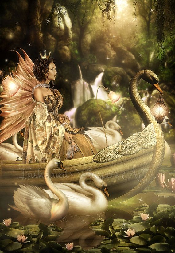 Fantasy Fairy artwork,Fantasy fairy print,white swans art,Fairy boat art,fairy wings,lake,fairy queen art,enchanted forest art,birds,nature