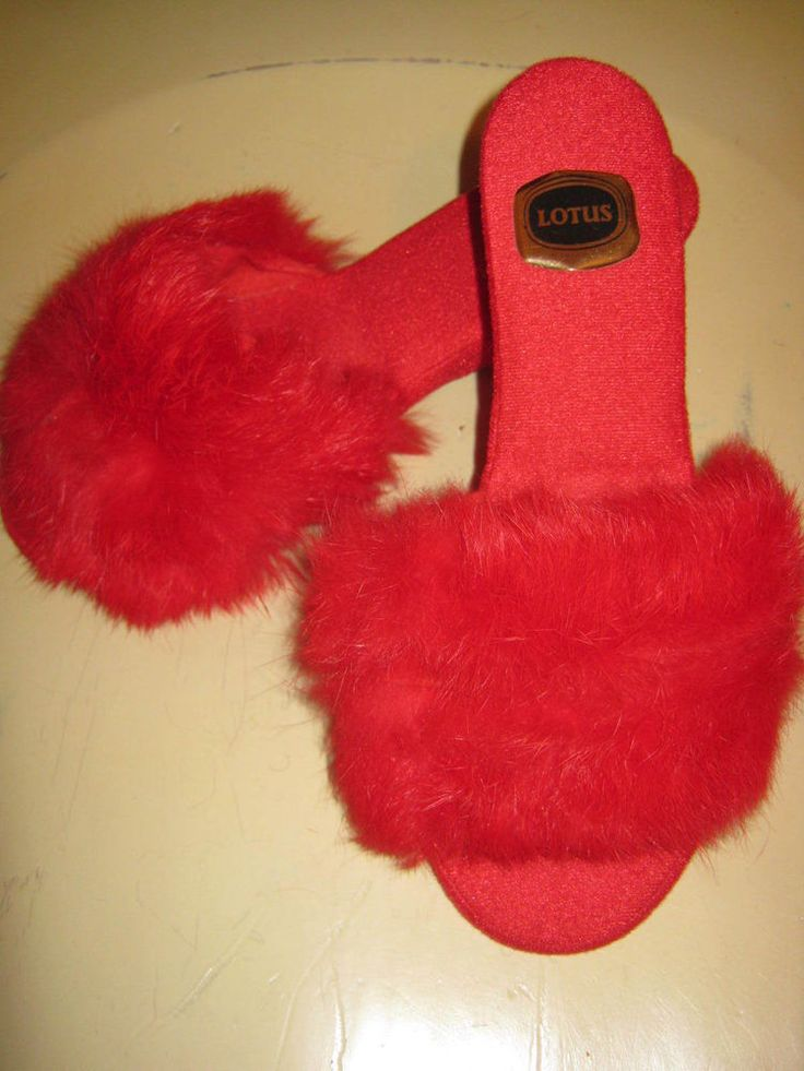 vintage 70s ladies fluffy red mules slippers size 5 lotus