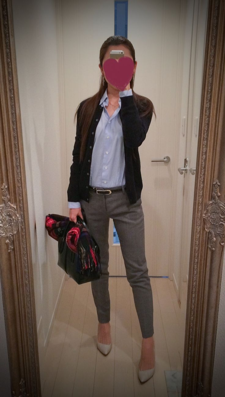 Blue shirt, gray pant, black jacket, black bag, gray heels - http://ameblo.jp/nyprtkifml