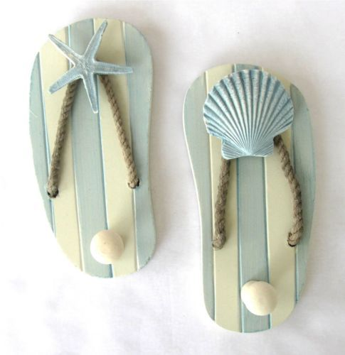 Beach theme sandal wall hooks Wood sea shell bathroom beach house decorative