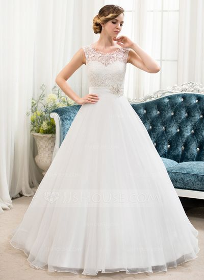 Ball-Gown Scoop Neck Sweep Train Organza Satin Lace Wedding Dress With Beading Sequins (002054362)