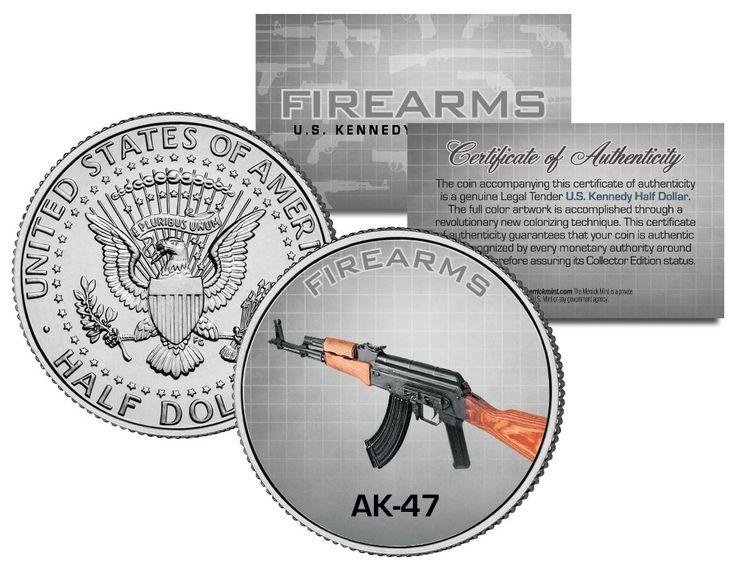 Русский военный вызов Монета АК-47 Пистолет Огнестрельное Оружие Монета КЕННЕДИ Кеннеди Полдоллара США Раскрашенная Монета 100 шт./лот бесплатная доставка
