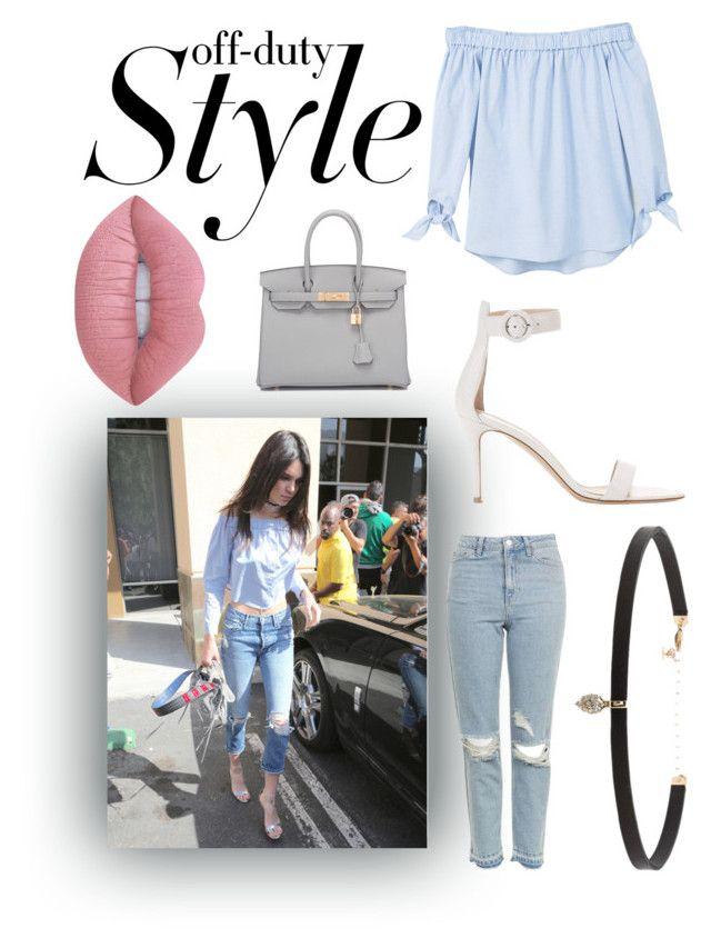 """""""Kendall Jenner"""" by beth-chandler ❤ liked on Polyvore featuring MANGO, Topshop, Gianvito Rossi, Hermès, Carbon & Hyde and Lime Crime"""