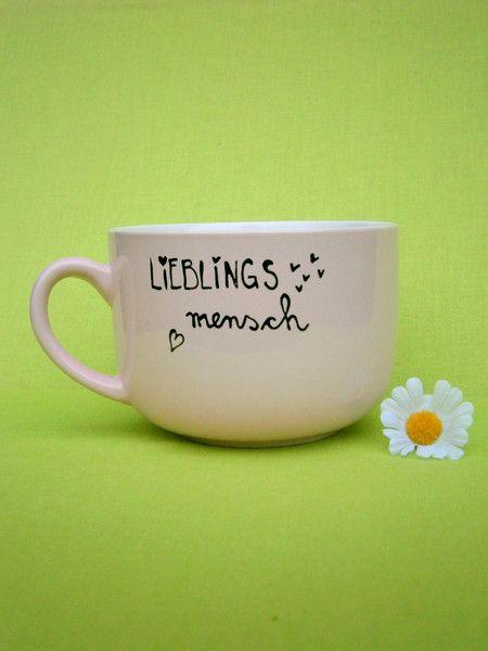 Tasse : Lieblingsmensch Geschenk Tasse ♥ rosa von hochdietassen auf DaWanda.com
