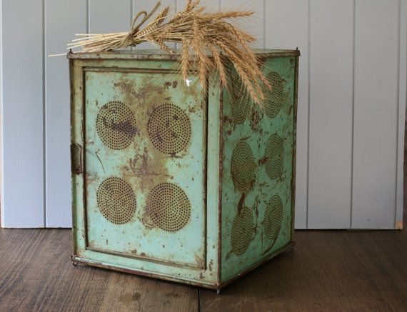 Green Metal Kande Meat Safe Rustic Industrial Decor by FoundByHer