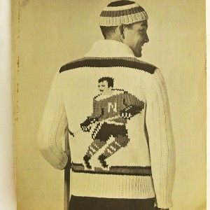Vintage 1950s Sweater Pattern Men Knitting Hockey Player... review | buy, shop with friends, sale | Kaboodle