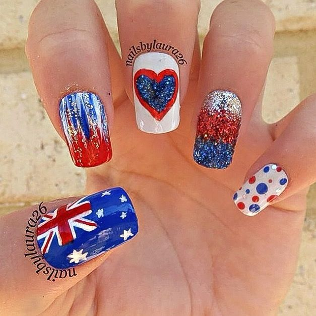 49 best australia day nails inspiration images on pinterest australia day nail art prinsesfo Gallery