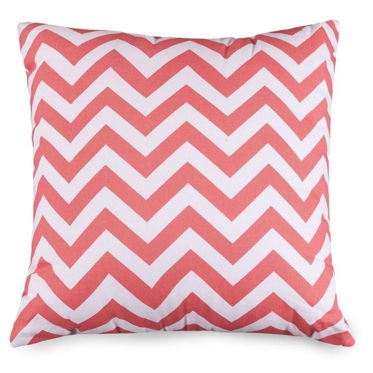 Coral Chevron Large Pillow