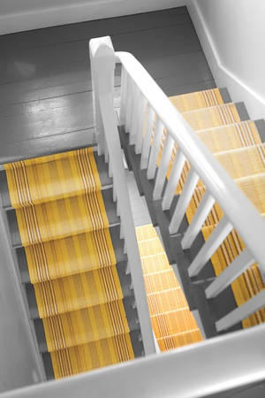 My Girls want a two-story house so here are the stairs. I would distress the grey but love grey and yellow together