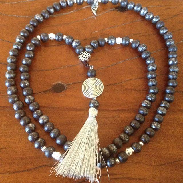 Beautiful handmade wooden mala beads. @earthheartmala  Sea spirit design, traditional108 beads for meditation.