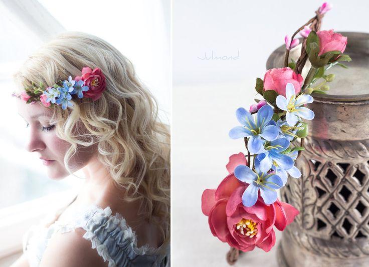 Haarschmuck & Kopfputz - Hochzeit Haarschmuck Blumen Blau Blumenkranz - ein Designerstück von _Julmond_ bei DaWanda