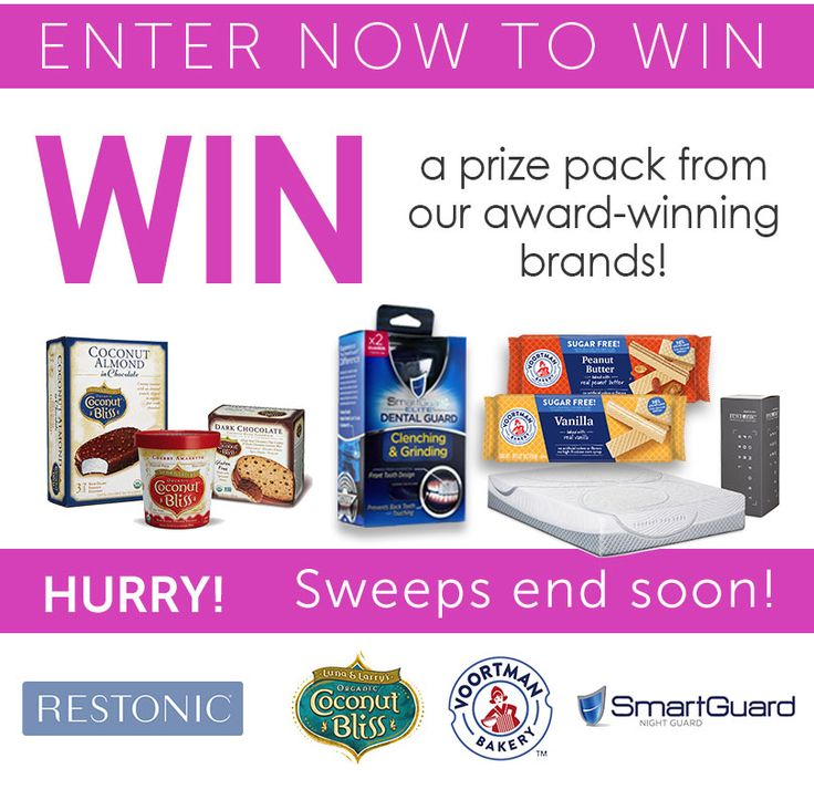 Win a prize pack from our Award-Winning brands including a Restonic queen size mattress, a SmartGuard dental guard and goodies from Voortman bakery and Coconut Bliss.