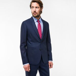 Paul Smith Men's Tailored-Fit Navy Loro Piana Wool Suit To Travel In Blazer