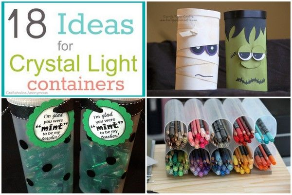 18 Ideas to Reuse Crystal Light Containers--we don't drink CL, but I'm repining in case I find someone who does so I can make that mummy!