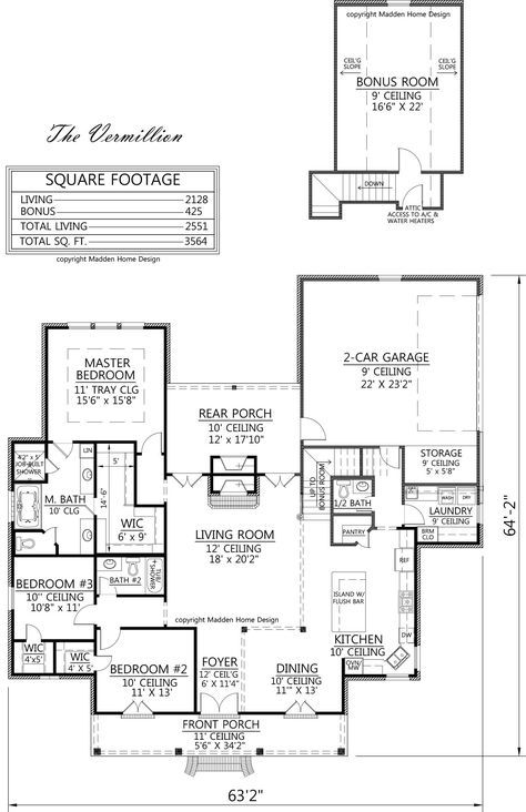 Acadian style house plan, The Vermillion, Madden Home Design, 4 bedrooms, 3 baths, 2128 square feet living, bonus 425; total 3564; width 63'2