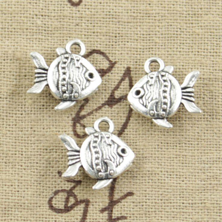 99Cents 8pcs Charms double sided fish goldfish 14*15mm Antique pendant fit Vintage Tibetan Silver DIY bracelet necklace