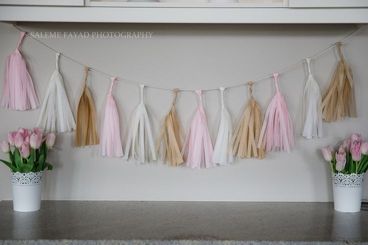 Tassel Garland http://partystock.ca/blog/modern-pink-and-mint-party/