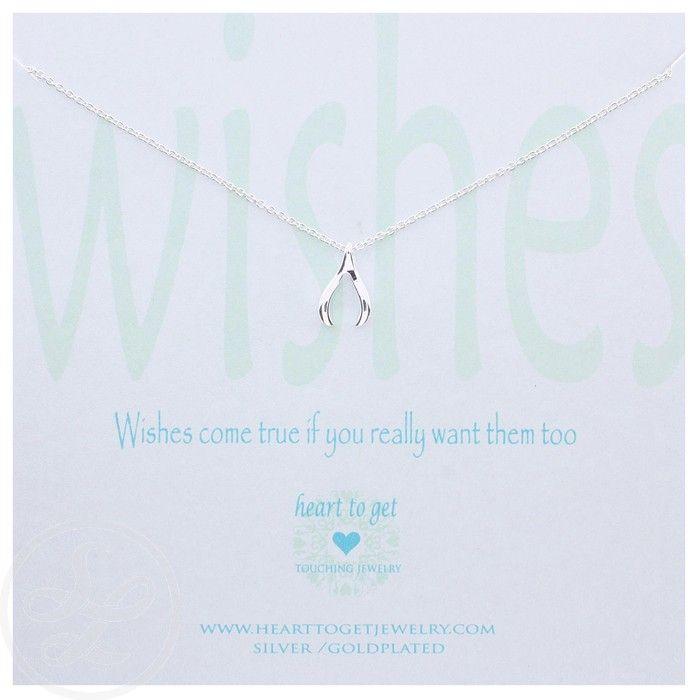 Heart to Get Wishbone. Zilveren ketting van Heart to get. www.ajuweliers.nl