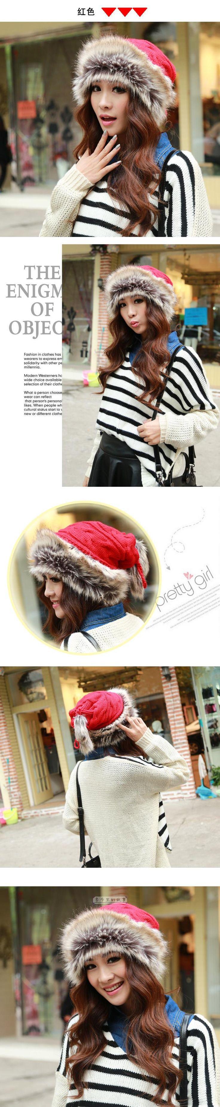 Осень и зима женский корейской зимой толстые теплая шерстяная шапка кролика волосы вязаная шапка шляпа шарф двойного назначения женщин купить на AliExpress