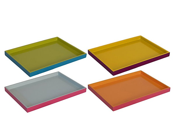 One Kings Lane - Downstairs - S/4 Two-Tone Wood Trays