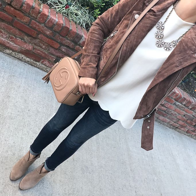 BlankNYC moto jacket, Gucci soho disco bag, scallop hem top