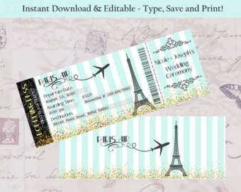 Invitar a París embarque pase invitación DIY Boarding Pass