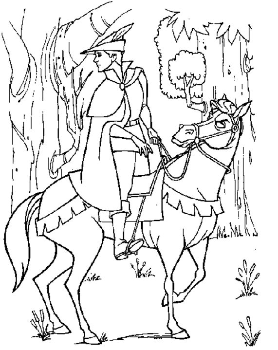 Prince Phillip On Horse Coloring Pages Printable