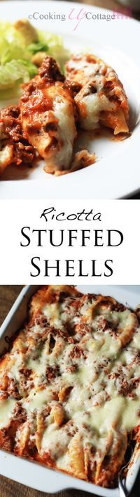 Ricotta Stuffed Shells - With jumbo pasta shells, mozzarella cheese, ground beef and delicious ricotta cheese, you're going to love this dish.