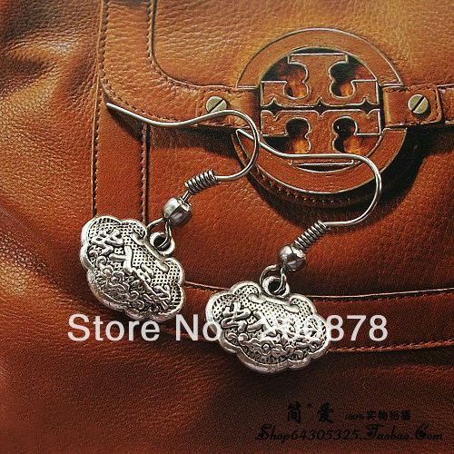 National earrings national trend vintage silver earrings rich safe lock earrings,PING AN lockets,10pairs lot, free shipping
