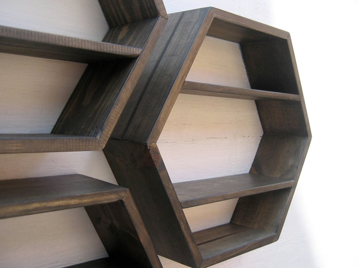 Hexagon Shelves Deep Brown Set Of 3 Small Med Large 174 00 Usd Via Etsy Diy