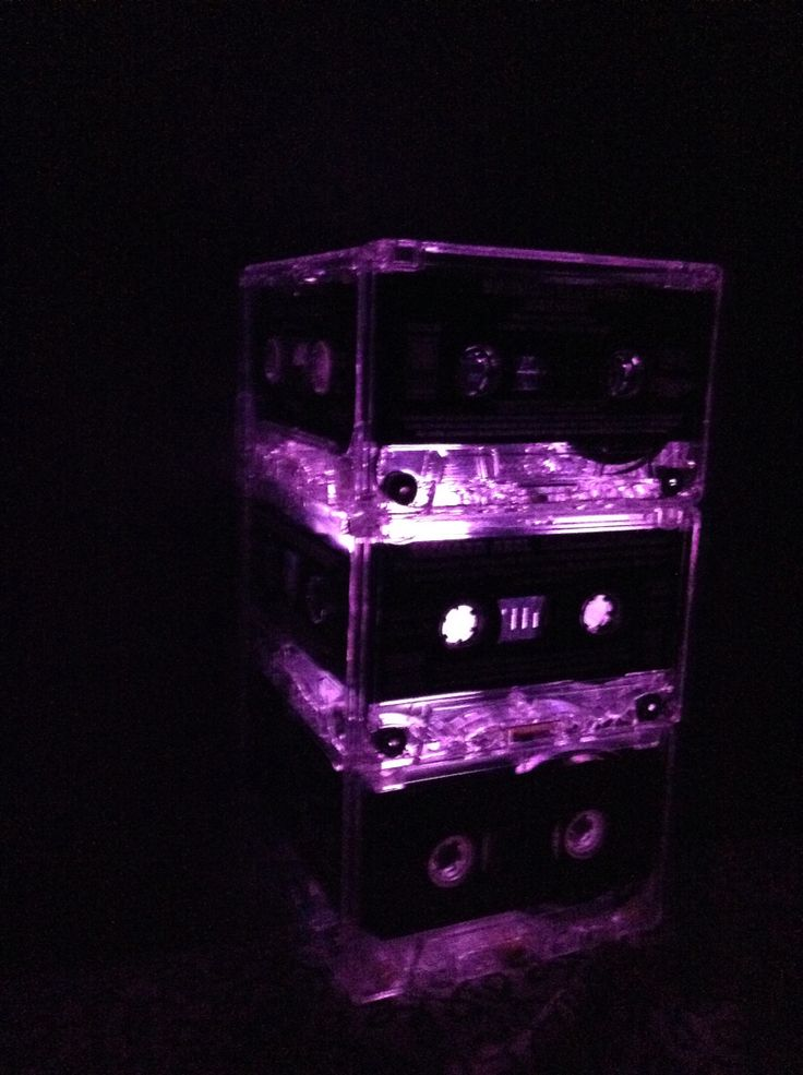 Color changing night light for my brother!! Made from old cassettes..