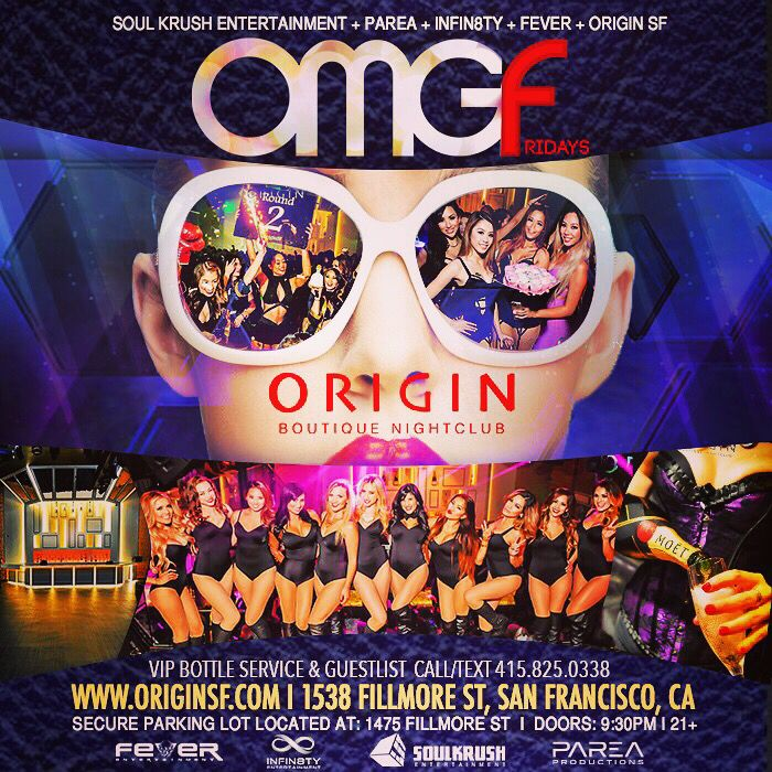 Tonight! 6/5 #OMGFridays @ #OriginSF FREE Entry RSVP 게스트 신청 > http://eepurl.com/Ku71b  VIP/Table RSVP Call or Text 408-529-1804 VIP@SOULKRUSH.COM  #EDM #Nightlife #SanFrancisco #SF #RubySkyeSF #SoulKrush #ECTwins #Paulban #LeonBolier #AdrianLux #DanceMusic #OMGFridays #OMGF #소크 #샌프란 #일랙 #아티스트 #파티 #클럽 #힙합 #음악 #컬쳐 #샌프란 #엘에이