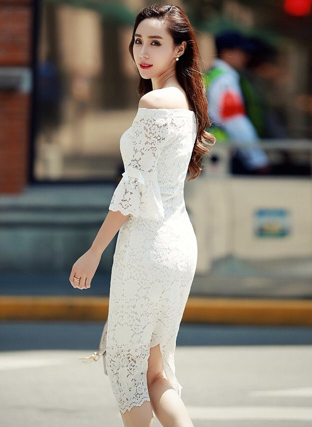 Off Shoulder Split Full Lace Pencil Dress Pretty In Lace Couture Online Fashion Boutique