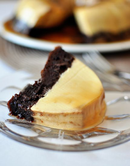 Flan Topped Chocolate Cake