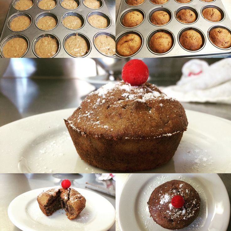 Bananas muffins with cacao and hazelnut powder with cherry in the top