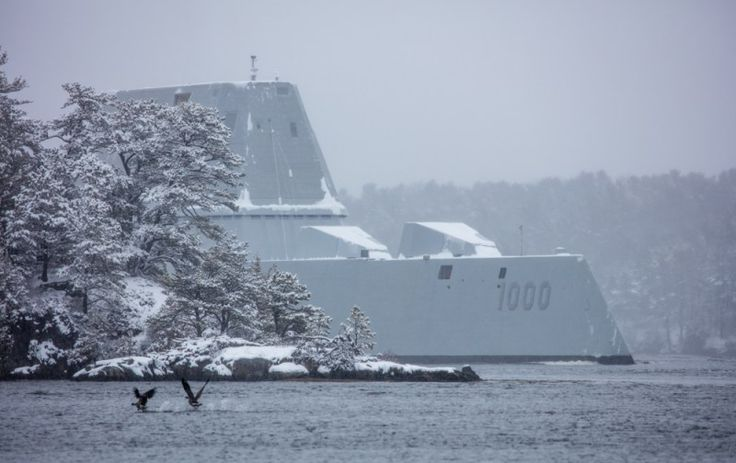 The future guided-missile destroyer USS Zumwalt (DDG 1000) returned from Atlantic Ocean on Thursday after completing its second round of sea trials off the coast of Maine. These photos, taken by Dave Cleaveland from MaineImaging.com, show the destroyer's arrival at the mouth of the Kennebec River near Portland. The ship departed for builder's trials from Bath Iron Works shipyard in Bath, Maine, located just up the Kennebec, on Monday.