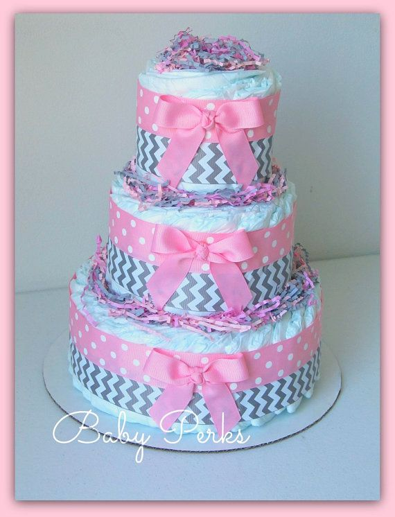 Baby girl diaper cake pink and grey baby shower for Baby shower decoration diaper cake