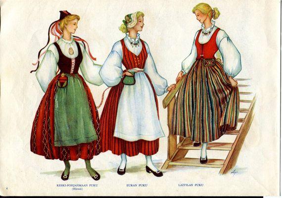Finnish Womens Ethnic Dress 1950s Print Puku by SkippiDiddlePaper Keski-Pohjanmaa = H, Eura, Laitila