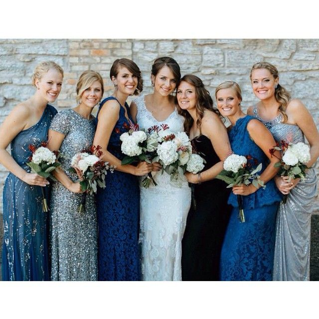 . Blue mismatched bridesmaids dresses. Wedding flowers. Hydrangea kangaroo paw dahlia garden roses seeded eucalyptus. Gene oh photography. blue sparkly. sparkle. sequin. silver.