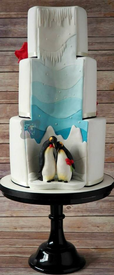 Penguin Hidden Reveal Wedding Cake