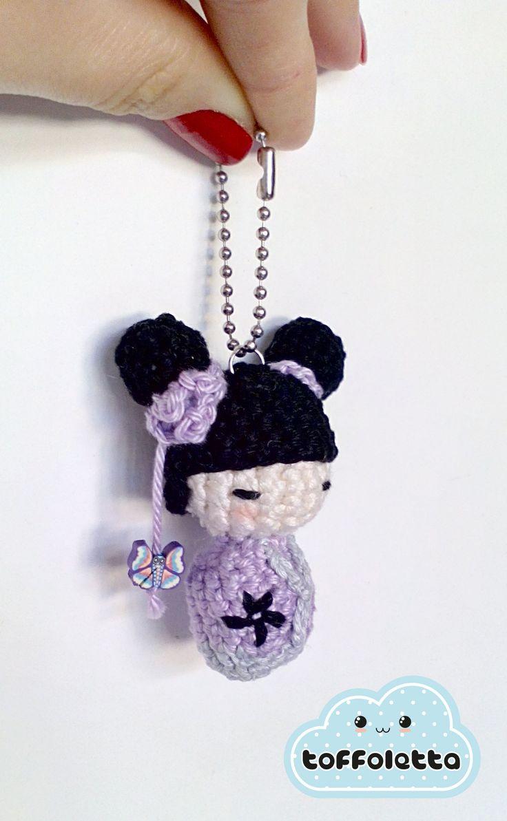 Crochet lilac kokeshi doll cute amigurumi by Toffoletta