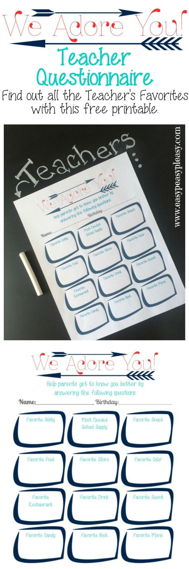 Use this free printable Teacher Questionnaire to find out all their favorite things. Parents, PTO, and PTA can use this idea to give teachers what they really like.