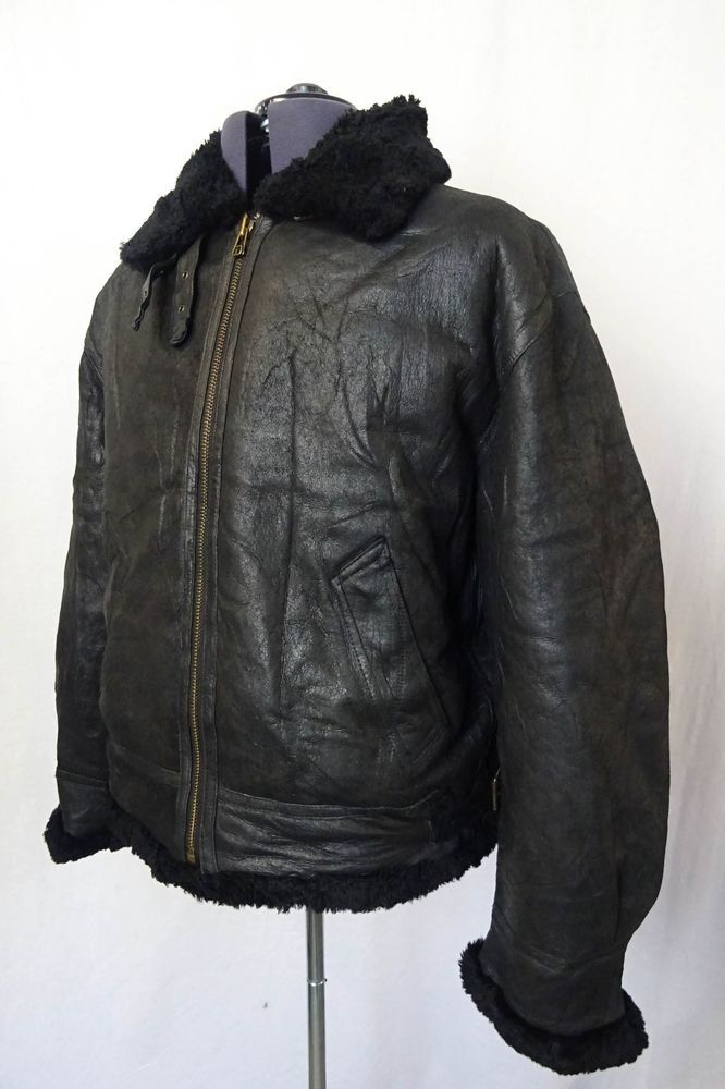 Vintage Sheepskin Black B3 Bomber Jacket Flying Pilot Aviator Coat 44R KB114
