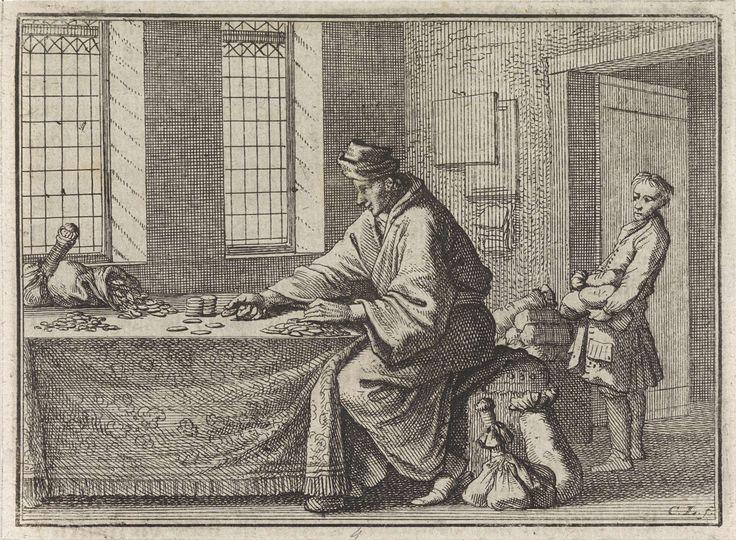 Caspar Luyken | Man telt munten en een jongen brengt hem geldzakken, Caspar Luyken, Christoph Weigel, Frantz Martin Hertzen, 1710 |
